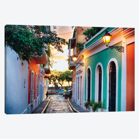 Old San Juan Street In Sunset Glow, Puerto Rico Canvas Print #GOZ445} by George Oze Canvas Artwork