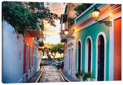Old San Juan Street In Sunset Glow, Puerto Rico Canvas Art Print