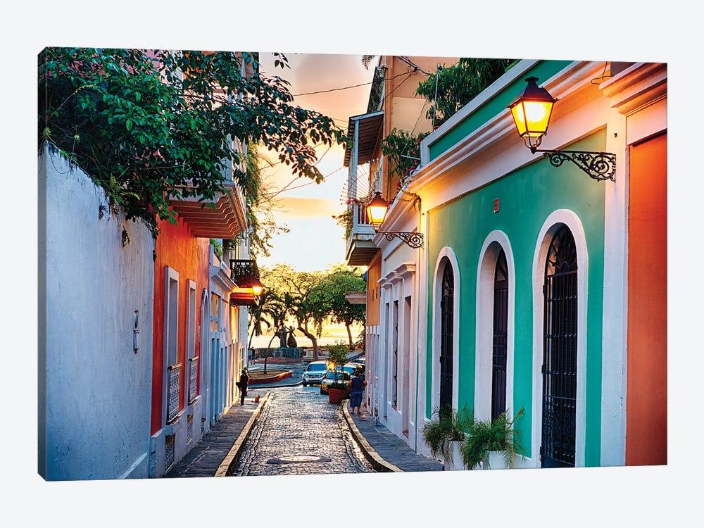 Old San Juan Street In Sunset Glow, Puerto Rico by George Oze 1-piece Art Print
