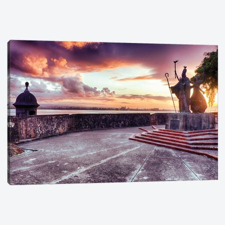 Sunset At The Plaza Of The Religious Procession, San Juan, Puerto Rico Canvas Print #GOZ446} by George Oze Canvas Art