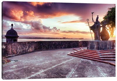 Sunset At The Plaza Of The Religious Procession, San Juan, Puerto Rico Canvas Art Print