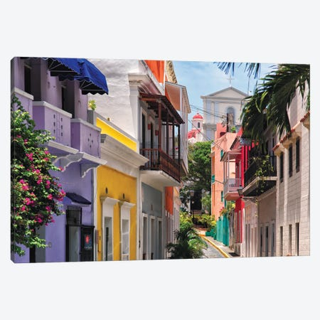 Colorful Streets Of Old San Juan, Puerto Rico Canvas Print #GOZ447} by George Oze Canvas Artwork