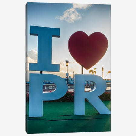 I Love Puerto Rico Sign In San Juan Harbor Canvas Print #GOZ450} by George Oze Canvas Artwork