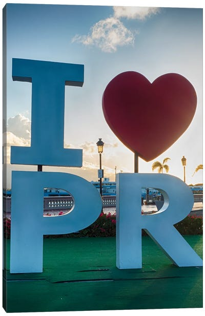 I Love Puerto Rico Sign In San Juan Harbor Canvas Art Print