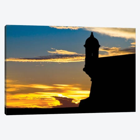 Silhouette Of The Walls Of El Morro Fort At Sunset, Old San Juan, Puerto Rico Canvas Print #GOZ451} by George Oze Canvas Art
