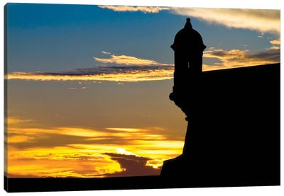 Silhouette Of The Walls Of El Morro Fort At Sunset, Old San Juan, Puerto Rico Canvas Art Print