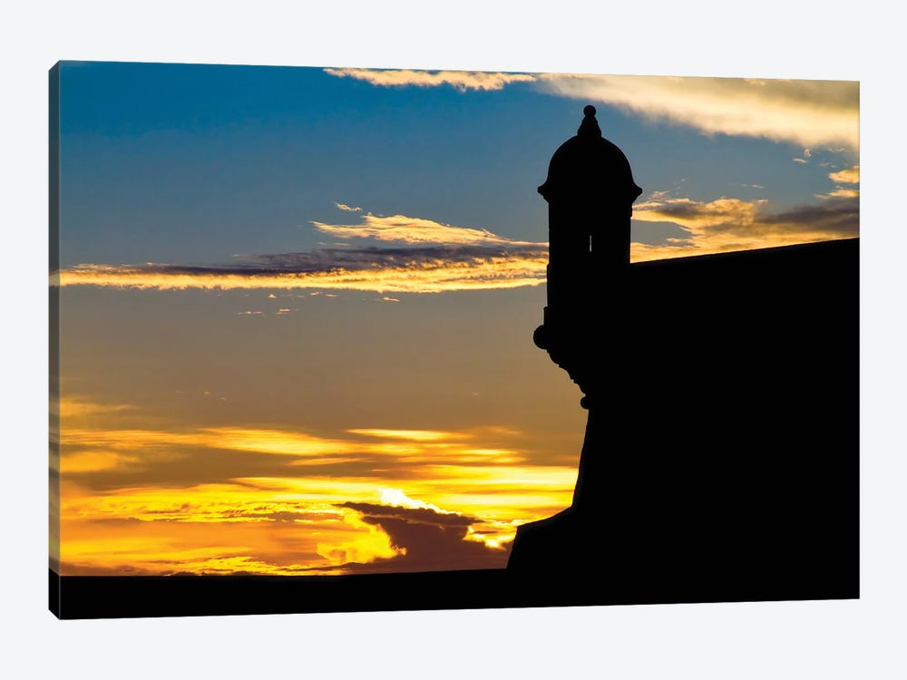 Silhouette Of The Walls Of El Morro Fort At Sunset, Old San Juan, Puerto Rico by George Oze 1-piece Canvas Wall Art