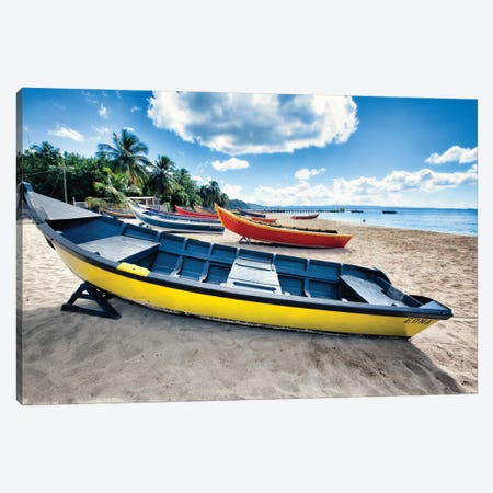 Row Of Traditional Small Fishing Boats On A Beach, Aguadilla, Puerto Rico Canvas Print #GOZ452} by George Oze Canvas Artwork