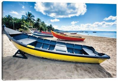Row Of Traditional Small Fishing Boats On A Beach, Aguadilla, Puerto Rico Canvas Art Print