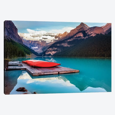 Red Canoes On A Wodden Dock, Lake Louise, Alberta Canada Canvas Print #GOZ463} by George Oze Canvas Print
