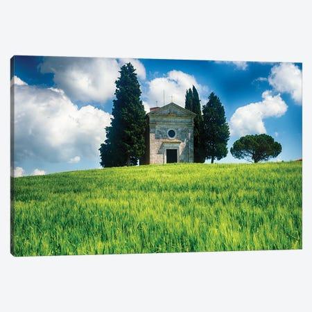 Chapel Of The Madonna Di Vitaleta, Tuscany, Italy Canvas Print #GOZ474} by George Oze Art Print