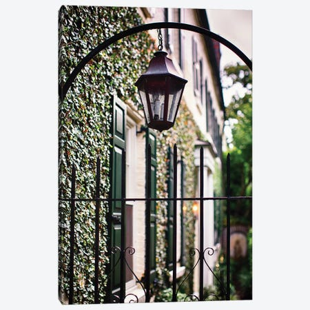 Close Up View of an Antique Lamp Hanging from an Iron Fence, Charleston, South Carolina Canvas Print #GOZ47} by George Oze Canvas Artwork