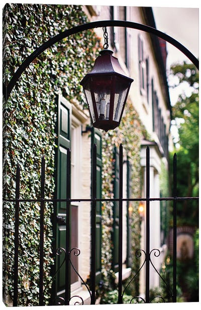 Close Up View of an Antique Lamp Hanging from an Iron Fence, Charleston, South Carolina Canvas Art Print