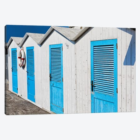 Close Up View of Beach Cabins, Positano, Campania, Italy Canvas Print #GOZ48} by George Oze Canvas Art Print