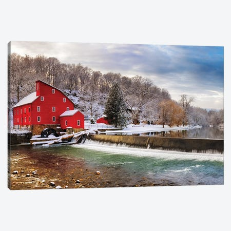 Red Grist Mill In A Winter Landscape, Clinton, New Jersey Canvas Print #GOZ497} by George Oze Canvas Print