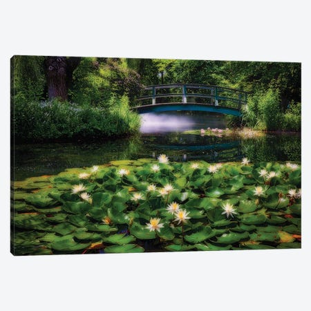 Lily Pond With A Footbridge Canvas Print #GOZ499} by George Oze Canvas Wall Art