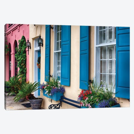 Close Up View of Colorful House Exteriors in Rainbow Row, Charleston, South Carolina, USA Canvas Print #GOZ49} by George Oze Canvas Art Print