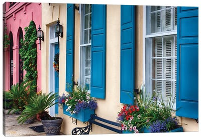 Close Up View of Colorful House Exteriors in Rainbow Row, Charleston, South Carolina, USA Canvas Art Print