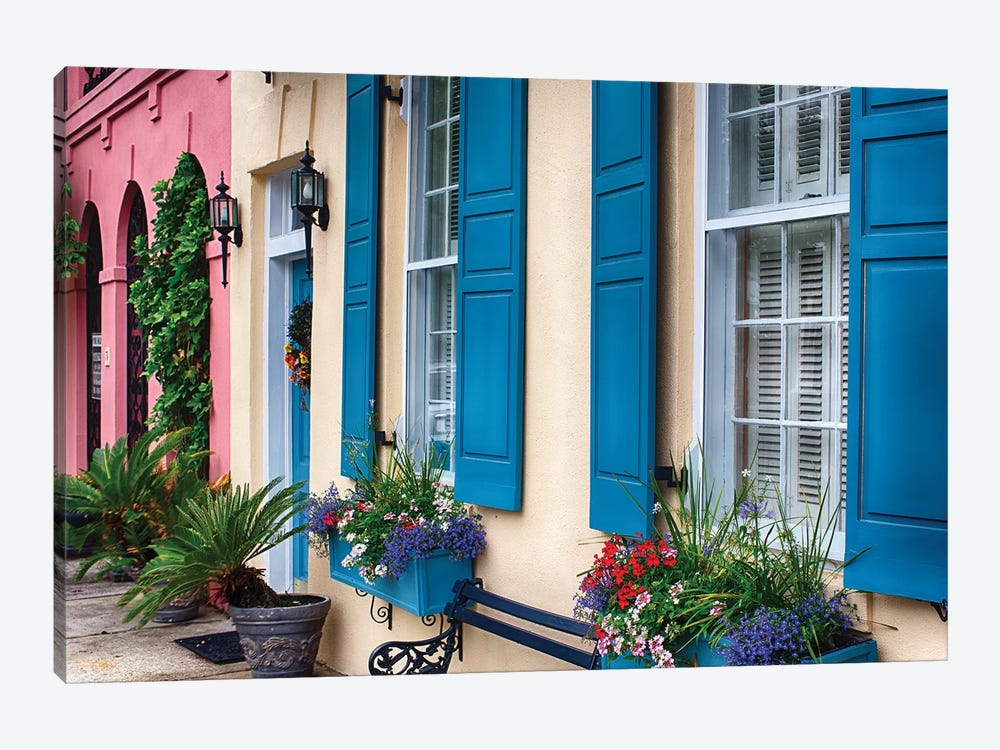 Close Up View of Colorful House Exteriors in Rainbow Row, Charleston, South Carolina, USA by George Oze 1-piece Canvas Wall Art