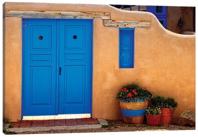 Adobe Walls with Blue Doors, Ranchos De Taos, New Mexico Canvas Art Print