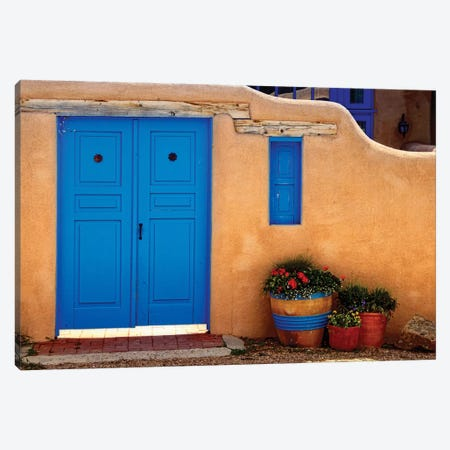 Adobe Walls with Blue Doors, Ranchos De Taos, New Mexico Canvas Print #GOZ4} by George Oze Canvas Print