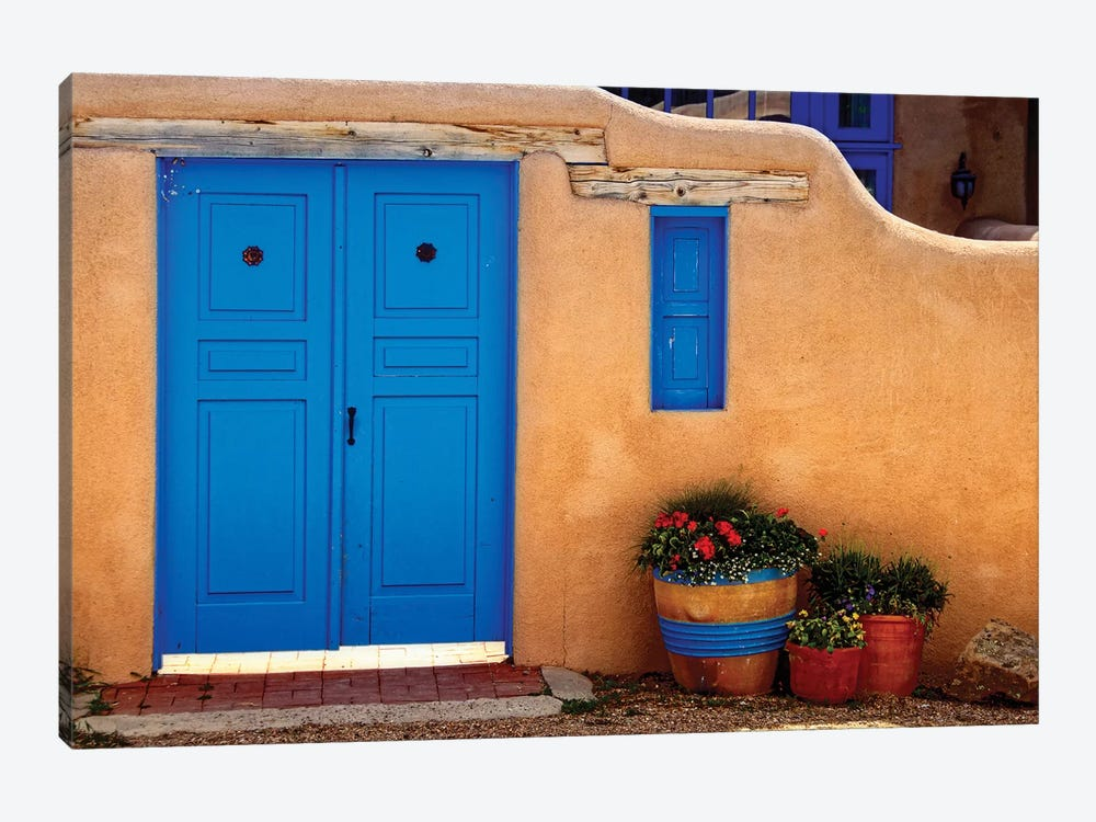 Adobe Walls with Blue Doors, Ranchos De Taos, New Mexico by George Oze 1-piece Canvas Print