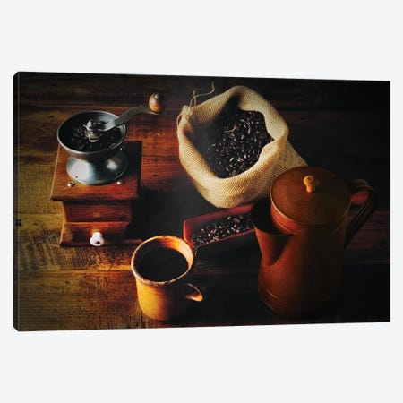 Traditional Coffee Brew, Hand Grinder, Fresh Beans And Classic Cofee Pot Canvas Print #GOZ505} by George Oze Canvas Art Print