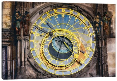 Close Up View of the Prague astronomical clock, Czech Republic Canvas Art Print