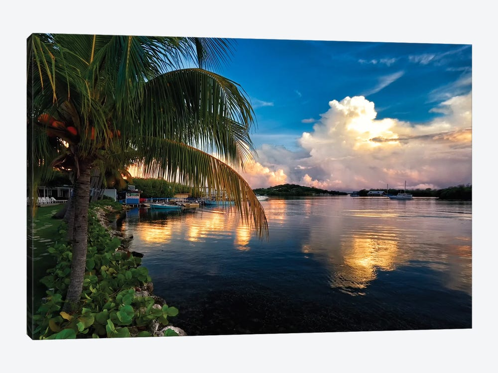Cloud Reflection in a Bay, La Parguera, Puerto Rico by George Oze 1-piece Art Print