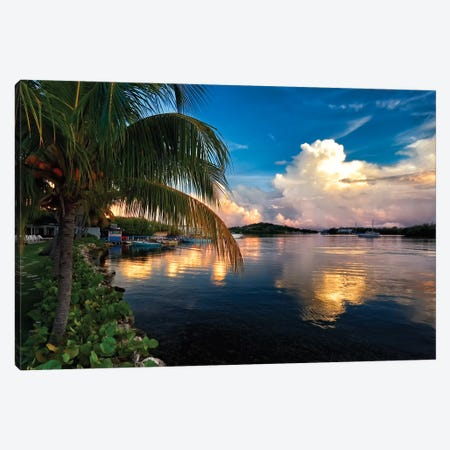 Cloud Reflection in a Bay, La Parguera, Puerto Rico Canvas Print #GOZ51} by George Oze Canvas Art