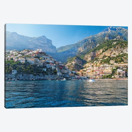 Coastal View of Positano from The Sea, Amalfi Coast, Campania, Italy Canvas Print #GOZ52} by George Oze Canvas Artwork