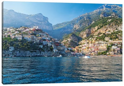 Coastal View of Positano from The Sea, Amalfi Coast, Campania, Italy Canvas Art Print
