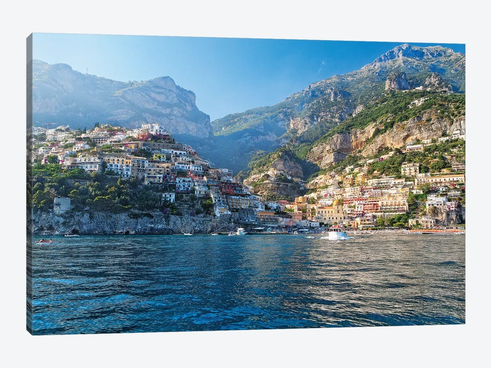 Coastal View of Positano from The Sea, Amalfi Coast, Campania, Italy by George Oze 1-piece Canvas Art