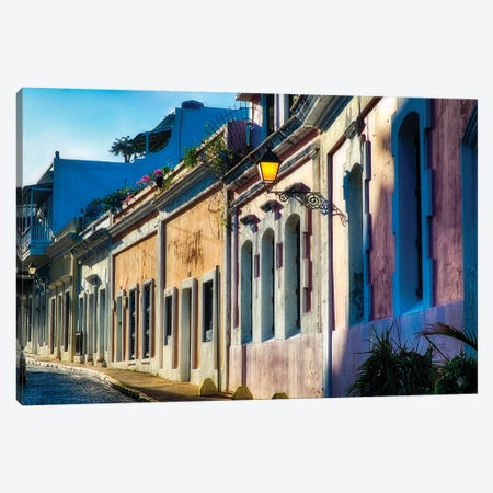 Cobblestone Street with Colorful Houses in Late Afternoon Light, San Juan, Puerto Rico 3-Piece Canvas #GOZ53} by George Oze Canvas Wall Art