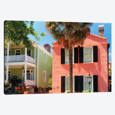 Colorful Houses of Church Street, Charleston, South Carolina Canvas Print #GOZ57} by George Oze Canvas Art Print