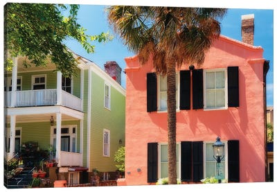 Colorful Houses of Church Street, Charleston, South Carolina Canvas Art Print