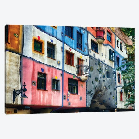 Colorful Impressionistic Architecture of the Hundertwasser House, Vienna, Austria. Canvas Print #GOZ58} by George Oze Canvas Artwork