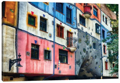 Colorful Impressionistic Architecture of the Hundertwasser House, Vienna, Austria. Canvas Art Print