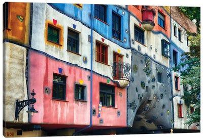 Colorful Impressionistic Architecture of the Hundertwasser House, Vienna, Austria. Canvas Art Print