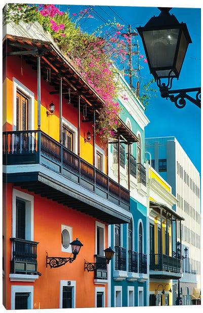 Colorful Spanish Colonial Houses, San Juan, Puerto Rico Canvas Art Print