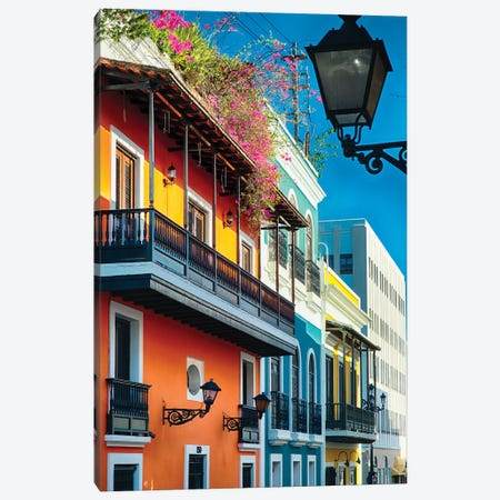 Colorful Spanish Colonial Houses, San Juan, Puerto Rico Canvas Print #GOZ59} by George Oze Canvas Artwork