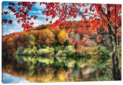 Colorful Trees  Reflections in a Lake, Round Valley Reservoir, Hunterdon County, New Jersey Canvas Art Print