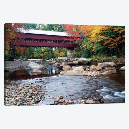Covered Bridge over the Saco River, Conway, New Hampshire Canvas Print #GOZ65} by George Oze Canvas Art