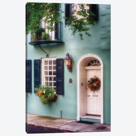 Entrance of a Pastel Colored Historic House in Charleston, South Carolina Canvas Print #GOZ73} by George Oze Canvas Wall Art