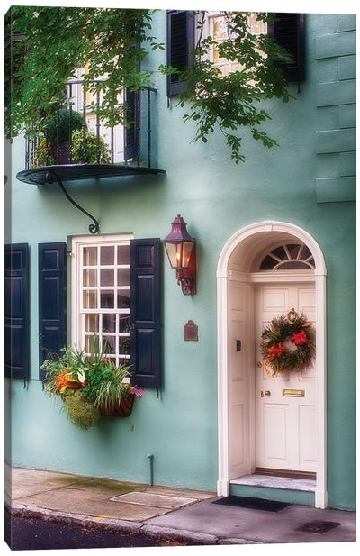 Entrance of a Pastel Colored Historic House in Charleston, South Carolina Canvas Art Print