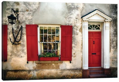 Entrance View of a Historic House in Charleston, with Bright Red Door and Window Shutters, Charleston, South Carolina  Canvas Art Print