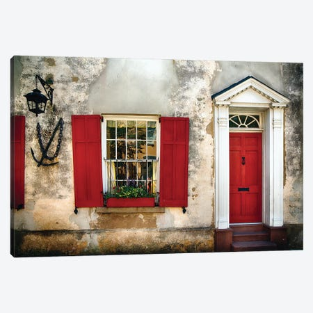 Entrance View of a Historic House in Charleston, with Bright Red Door and Window Shutters, Charleston, South Carolina  Canvas Print #GOZ74} by George Oze Canvas Print