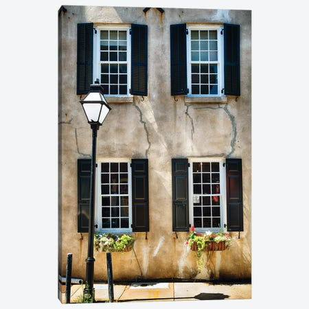 Frontal View of a Historic Home with Windows, Charleston, South Carolina Canvas Print #GOZ80} by George Oze Art Print