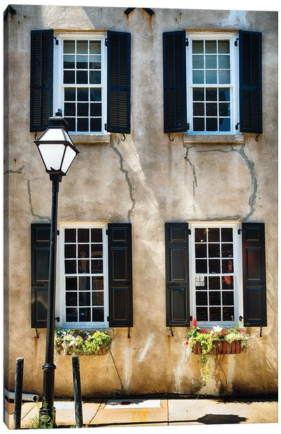 Frontal View of a Historic Home with Windows, Charleston, South Carolina Canvas Art Print