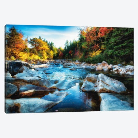 Granite Rocks in a Creek at Fall, Albany, New Hampshire Canvas Print #GOZ88} by George Oze Canvas Print